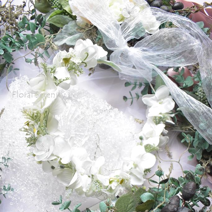 白とグリーンの花冠