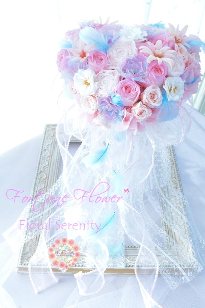 ピンク・水色・白ハート形のウェディングブーケ