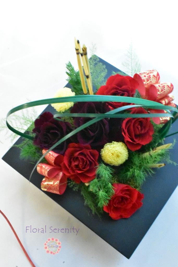 赤いバラお正月