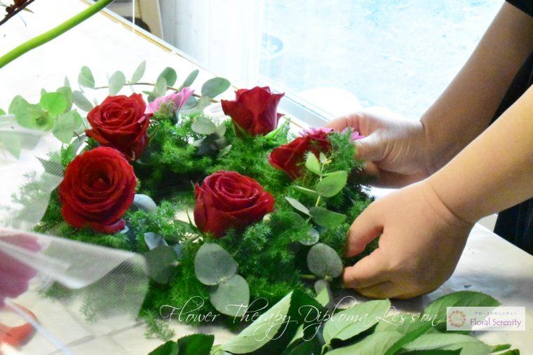赤いバラ、リースレッスン