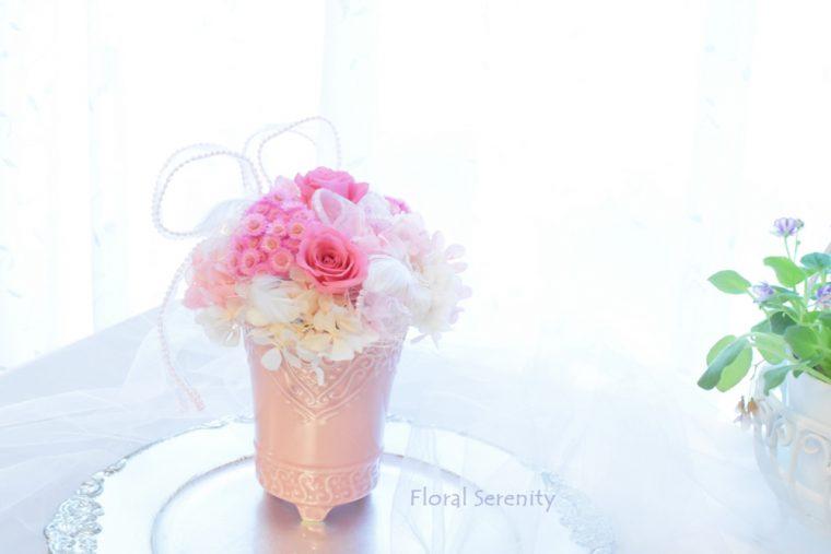 ピンクのお花とハート