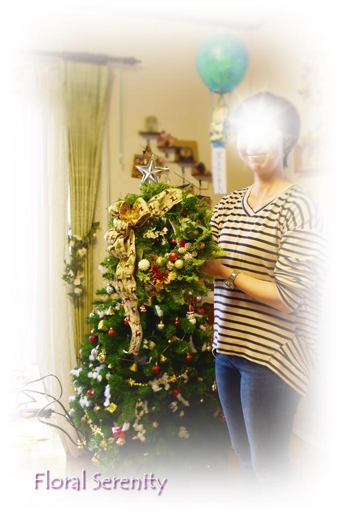 フレッシュグリーンのクリスマスリースレッスン2018フローラルセレニティ