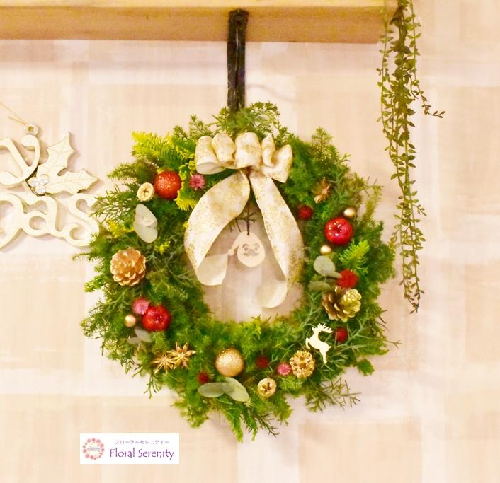 白ゴールドリンゴのクリスマスリース