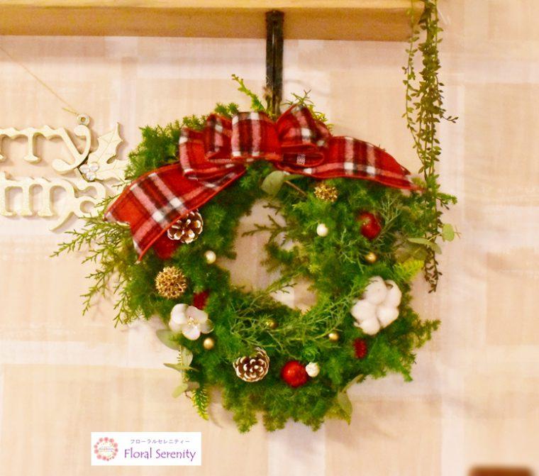 赤チェックリンゴ綿のクリスマスリース