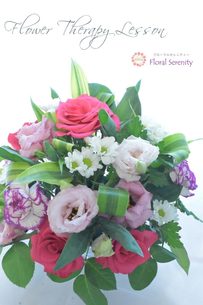 ピンクと白と緑の花