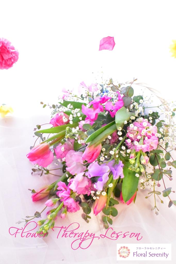 ピンク、チューリップ、花束