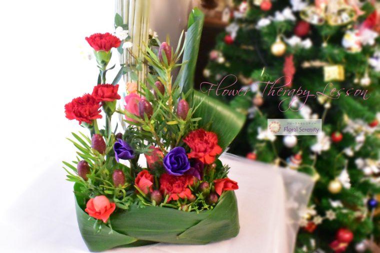 赤、アネモネ、グリーン、クリスマス