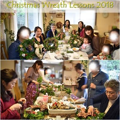 フレッシュグリーンのクリスマスリースレッスン2018フローラルセレニティー